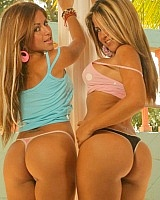 The Spice Twins show off their matching round asses. I swear these cute latinas always have the best tits and ass... the best part is there are two of