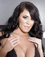 Busty brunette Savannah Stern in some very hot and sexy lingerie including black fishnet stockings. Savannah has the perfect figure for this kind of t